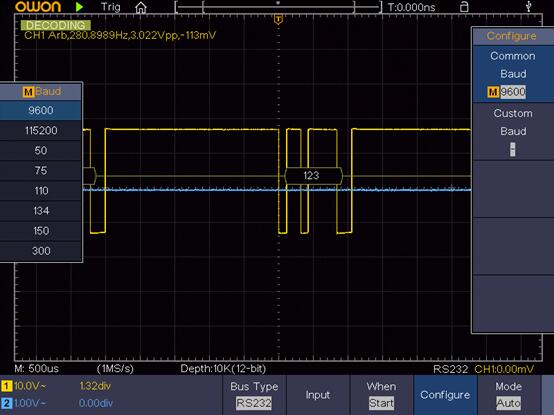 Standard SPI/I2C/RS232/CAN Decoding Function