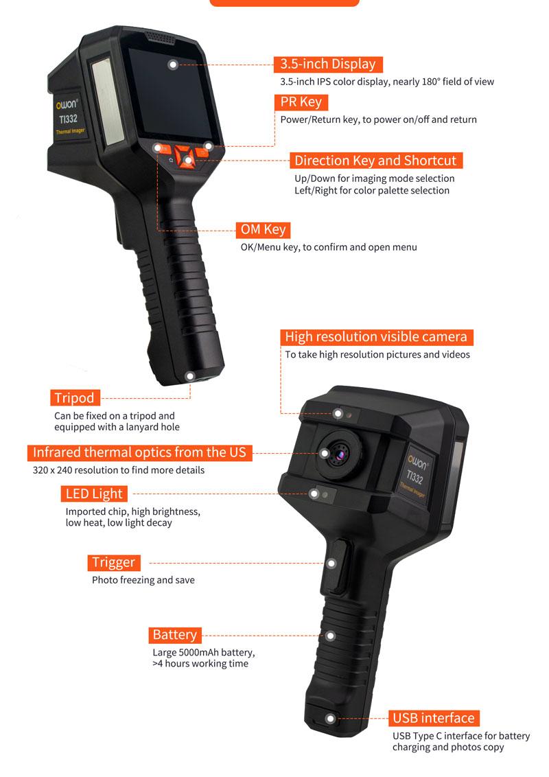 TI332ハンドヘルドサーマルイメージングカメラ
